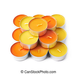 Tealight paraffin wax candle isolated - Multiple tealight...