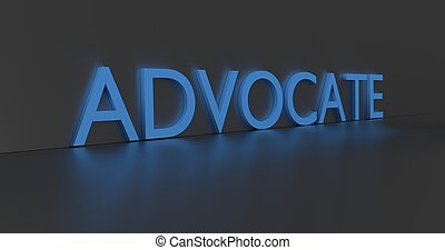 Advocate Word - Advocate concept word - blue text on grey...