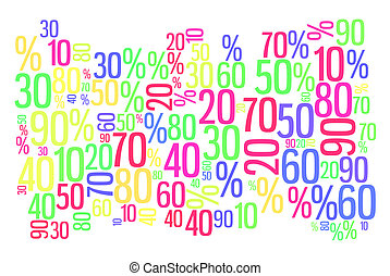 Sale word cloud banner - Sale word cloud. Percent with...