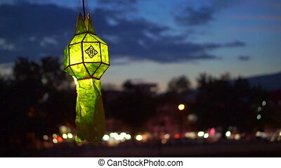 Thai green Paper lanterns yee peng - Thai style green Paper...