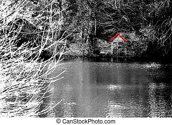 Boat house. - Black and white shot of a boat house on a...