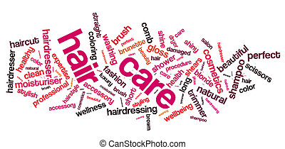 Hair care word cloud. Hair care typography background.
