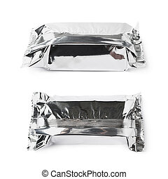 Silver foil sealed package isolated over the white...