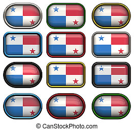 doce, botones, bandera, Panamá