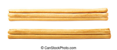 Pile of bread sticks isolated over the white background, set...