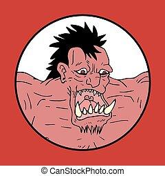 red monster illustration