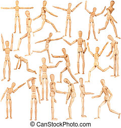 Set of wooden dummies isolated on a white background