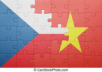 puzzle with the national flag of czech republic and vietnam
