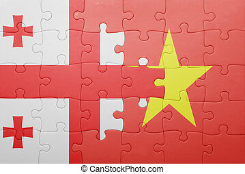 puzzle with the national flag of georgia and vietnam concept...
