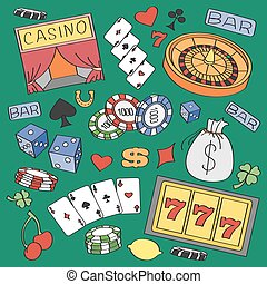 Doodle vector casino with roulette, cards, cigar, whisky,...