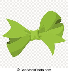 Cartoon bow green sign on transparent background