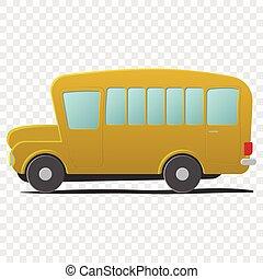 Yellow school bus cartoon Single illustration isolated on...
