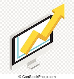 Growth chart isometric 3d icon