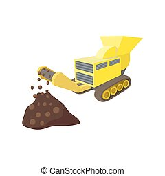 Coal conveyor crusher cartoon icon isolated on a white...