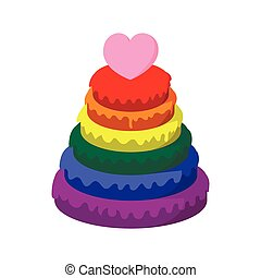 Rainbow pyramid with heart cartoon icon on a white...