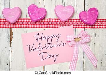 Pink card with the inscription Happy Valentines Day