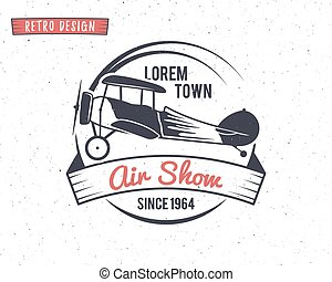 Airshow stamp Biplane label Retro Airplane badges, design...