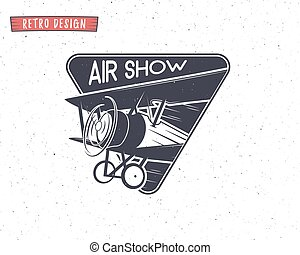 Airshow emblem Biplane label Retro Airplane badges, design...