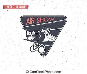 Airshow emblem. Biplane label. Retro Airplane badges, design...