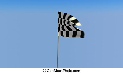 Finish – Loopable waving checkered flag over blue sky