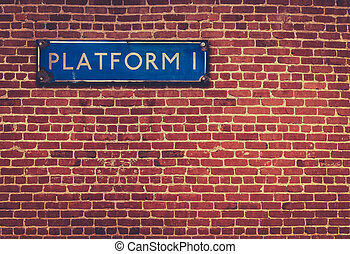 Rustic Station Platform Sign - Retro British Railway...