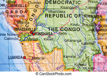 Democratic Republic of the Congo country map - Photo of a...