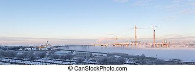 niebla, construcción, invierno, día, sitio