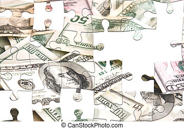 Challenging Money Puzzle - Photo montage with puzzle pieces...