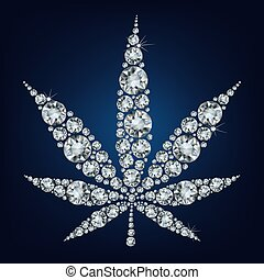 Cannabis leaf made a lot of from diamonds.