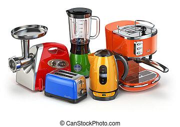 Kitchen appliances Blender, toaster, coffee machine, meat...