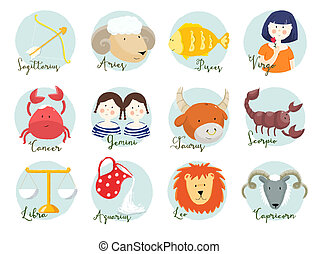 Raster horoscope signs - Beautiful raster image with nice...