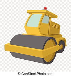 Yellow paver cartoon illustration. Single icon on...