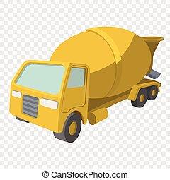 Concrete mixer cartoon yellow symbol Single icon on...