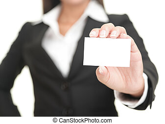 Businesswoman showing business card - Businesswoman showing...