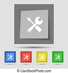 wrench and screwdriver icon sign on original five colored...