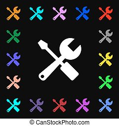wrench and screwdriver icon sign Lots of colorful symbols...