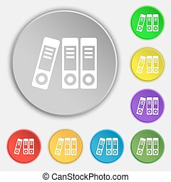 binders icon sign Symbol on eight flat buttons Vector...