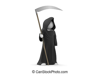 Death with scythe - 3d isolated on white background...