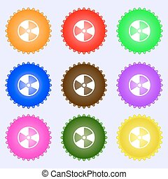 radioactive icon sign. A set of nine different colored...