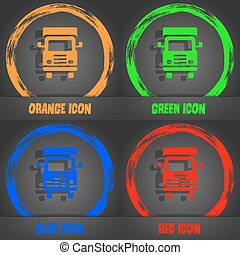Transport truck icon. Fashionable modern style. In the orange, green, blue, red design. Vector