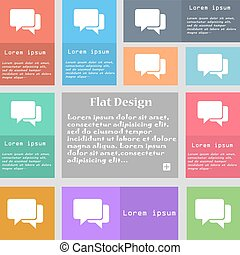 Speech bubbles icon sign. Set of multicolored buttons with space for text. Vector