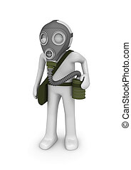 Man in gas mask - 3d isolated on white background characters...