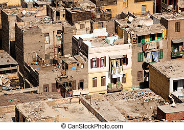 Slum dwellings in Cairo Egypt - Unfinished buildings in...