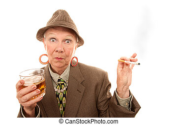 Senior woman in drag with cigarette and alcohol - Senior...