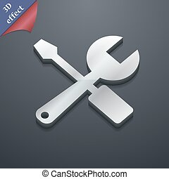 wrench and screwdriver icon symbol 3D style Trendy, modern...