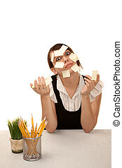 Bored office worker with blank sticky notes - Bored female...