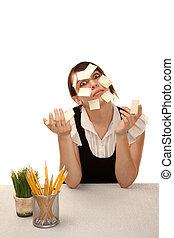 aburrido, oficina, trabajador, blanco, pegajoso, notas