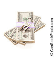House Keys on Stack of Money Isolated on a White Background...