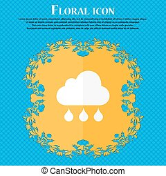 cloud rain icon. Floral flat design on a blue abstract background with place for your text. Vector