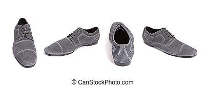 gray suede men shoe